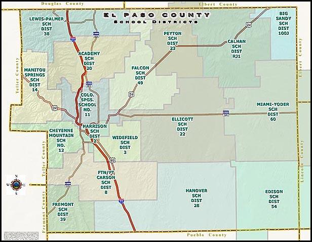 Interactive Map Of Colorado Springs Schools School District Websites - County maps of colorado